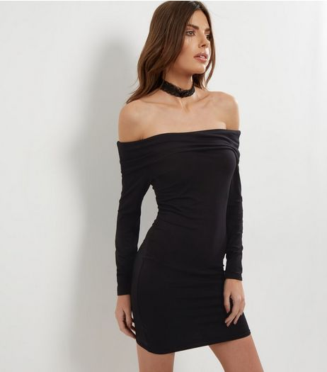 Black Bardot Neck Fold Over Bodycon Dress | New Look