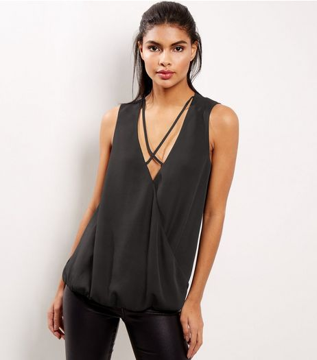 Black Lattice Wrap Front Sleeveless Top | New Look