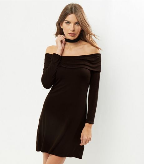 Black Bardot Neck Long Sleeve Dress | New Look