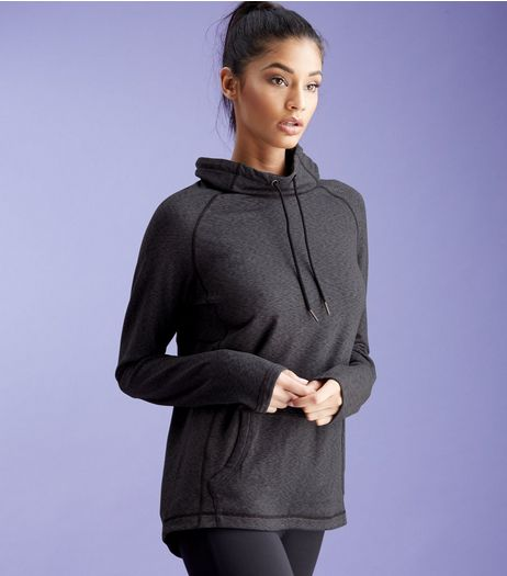 Dark Grey Cowl Neck Sports Sweater  | New Look