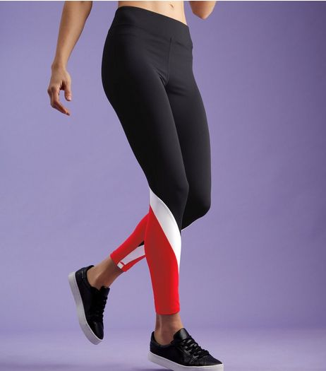 Black Sports Colour Block Hem Leggings | New Look
