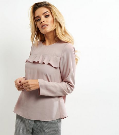 Mid Pink Yoke Frill Trim Long Sleeve Top  | New Look