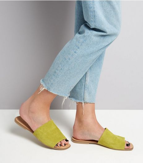 Wide Fit Lime Green Suede Mules  | New Look