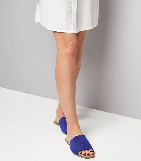Wide Fit Blue Suede Mules | New Look