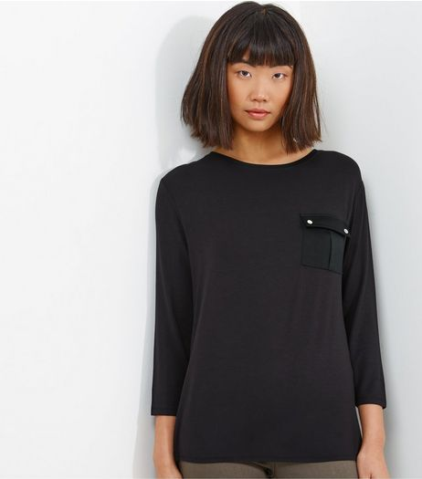 Black Pocket Front Sateen Back Top | New Look