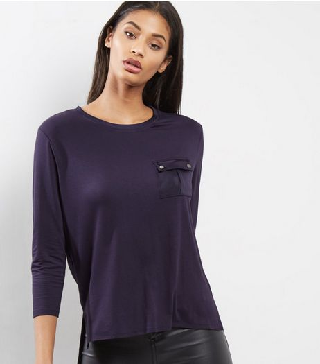Navy Pocket Front Sateen Back Top  | New Look