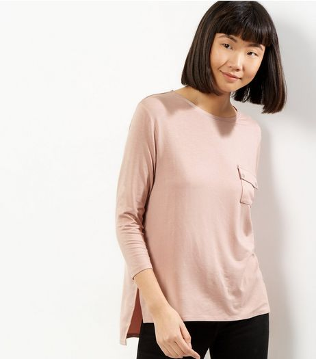 Pink Pocket Front Sateen Back Top | New Look