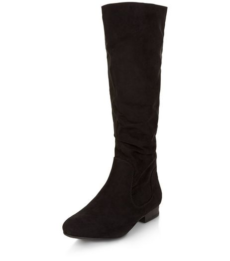 Teens Black Suedette Slouch Boots | New Look
