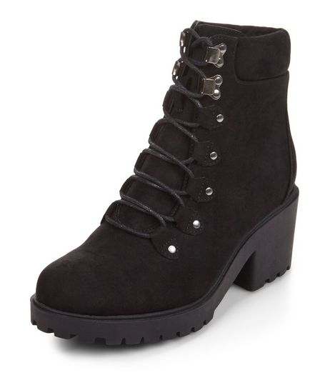 Teens Black Suedette Lace Up Block Heel Boots | New Look