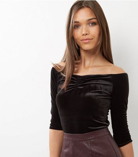 Black Ruched Velvet Bardot Top | New Look