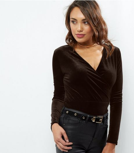 Black Velvet Wrap Front Top | New Look