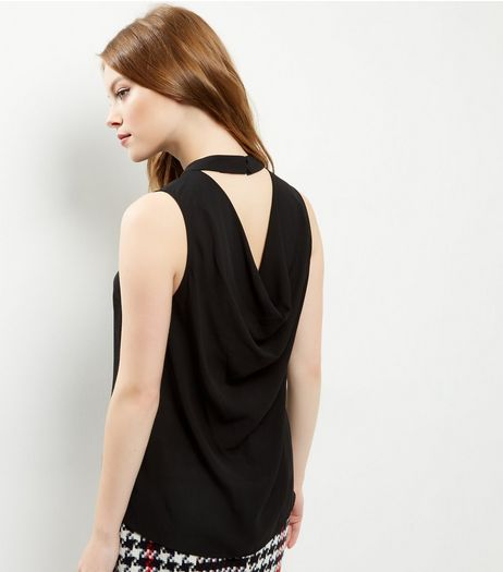 Black Split Back Sleeveless Top  | New Look