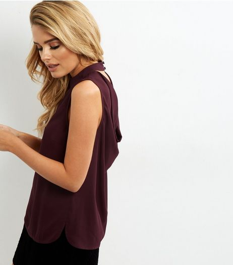 Dark Purple Cowl Back Sleeveless Top | New Look