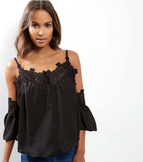 Black Crochet Lace Trim Cold Shoulder Top  | New Look