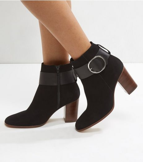 Black Suede Buckle Strap Contrast Block Heel Boots | New Look