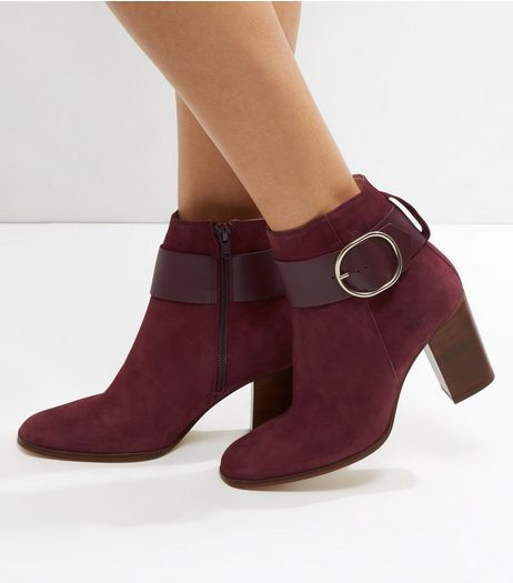 Dark Red Suede Buckle Strap Contrast Block Heel Boots | New Look