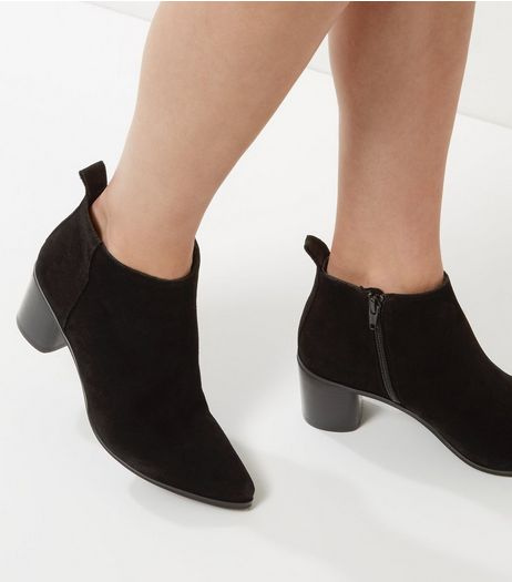 Black Suede Pointed Block Heel Chelsea Boots | New Look