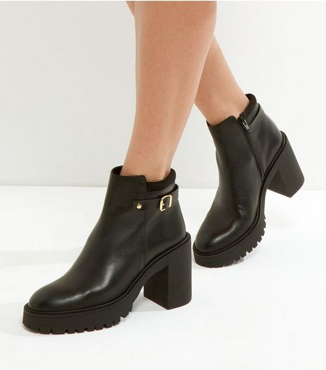 Black Leather Chunky Block Heel Ankle Boots | New Look