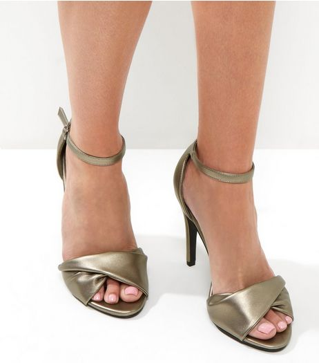 Pewter Twist Front Ankle Strap Heels | New Look