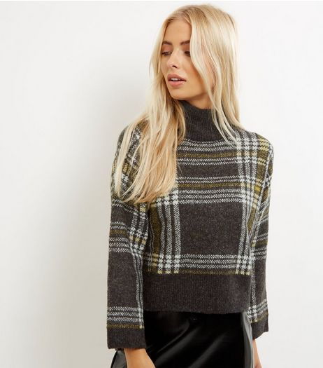 Black Brushed Check Funnel Neck Jumper | New Look