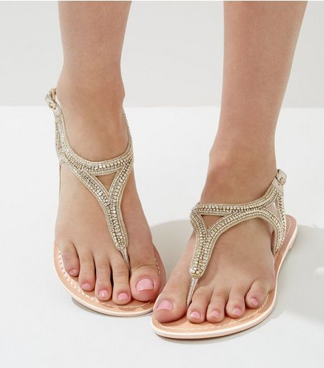 Wide Fit Gold Beaded Leather Sandals | New Look