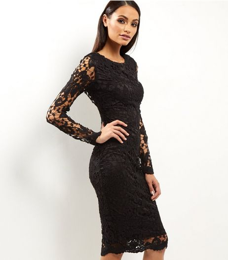 AX Paris Black Crochet Lace Midi Dress | New Look