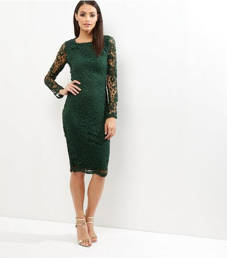 AX Paris Green Crochet Lace Midi Dress | New Look