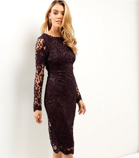 AX Paris Dark Purple Crochet Lace Midi Dress | New Look