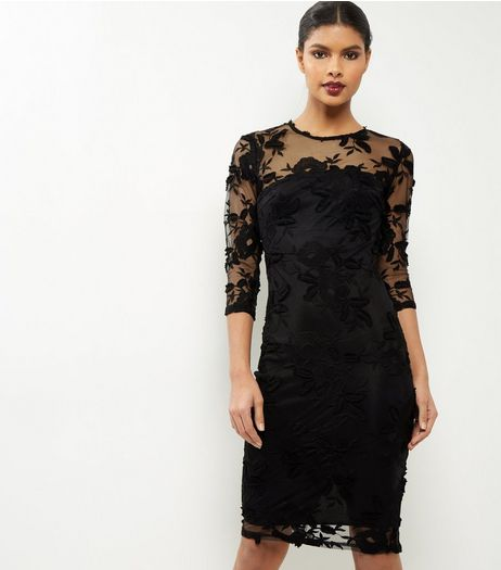 AX Paris Black Mesh And Lace Midi Dress | New Look