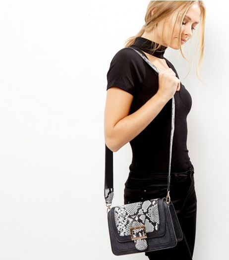 Black Snakeskin Buckle Across Body Bag | New Look