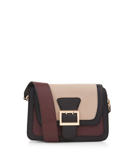 Mink Colour Block Buckle Across Body Bag | New Look