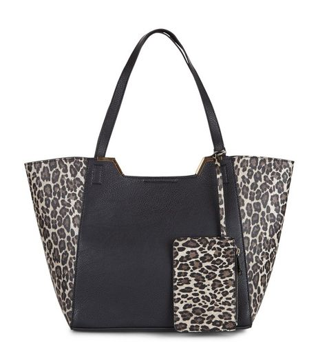 Brown Leopard Print Panel Colour Block Tote Bag | New Look
