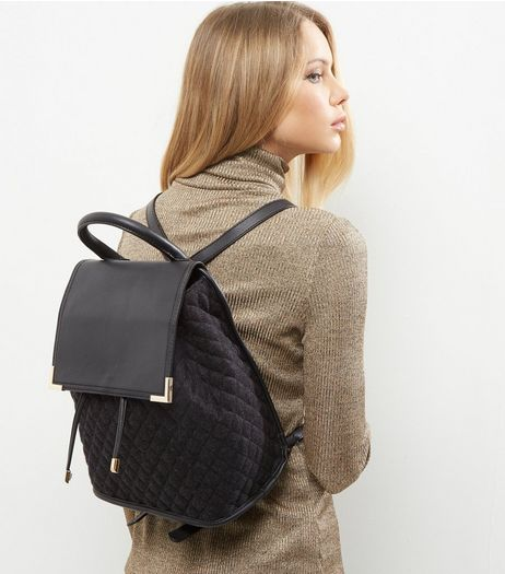Black Felt Quilted Back Pack | New Look