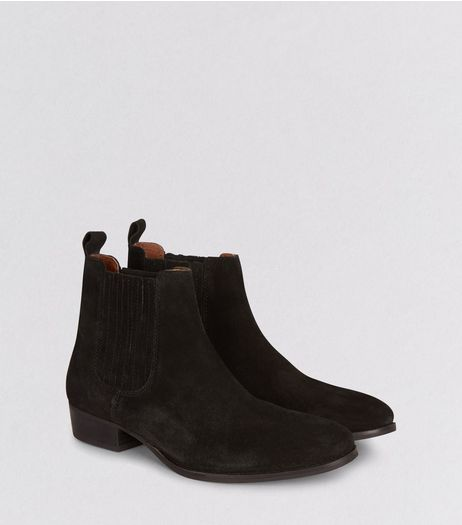 Black Suede Cuban Heel Boots | New Look