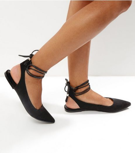 Black Pointed Ghillie Pumps | New Look