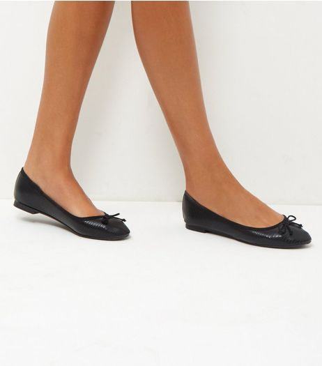 Black Textured Ballet Pumps | New Look