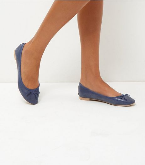 Navy Snakeskin Ballet Pumps | New Look