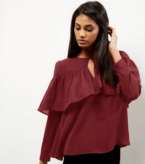 Anita and Green Burgundy Frill Trim Blouse  | New Look
