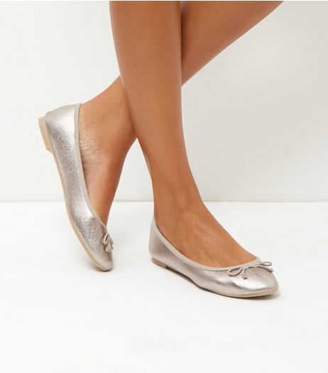Pewter Coated Ballet Pumps | New Look