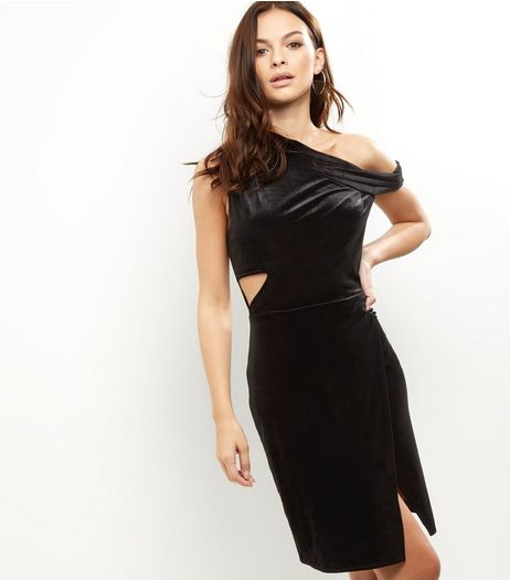 Anita And Green Black Velvet One Shoulder Cut Out Dress | New Look