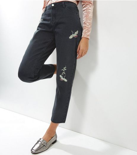 Anita and Green Black Embroidered Bird Straight Leg Jeans | New Look