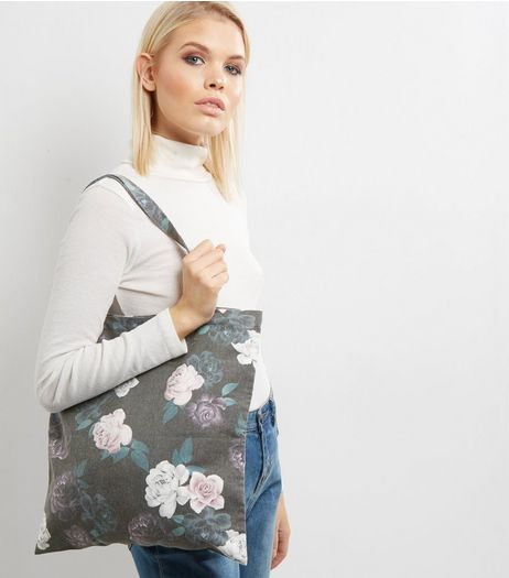 Grey Floral Print Canvas Tote Bag | New Look