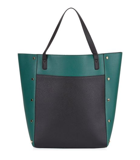 Green Colour Block Tote Bag | New Look