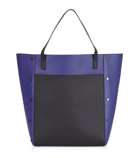 Blue Colour Block Tote Bag | New Look
