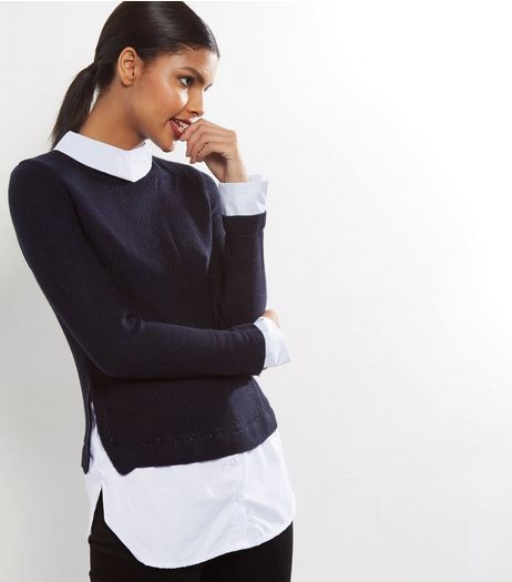 Cameo Rose Stripe Navy 2 in 1 Jumper  | New Look