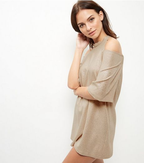Cameo Rose Gold Cold Shoulder Shimmer Dress | New Look