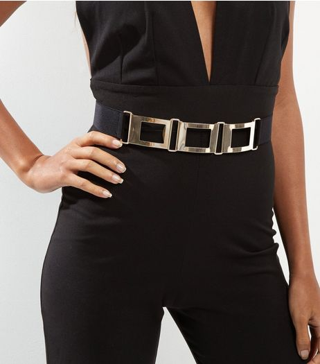Black Gold Square Stretch Belt | New Look