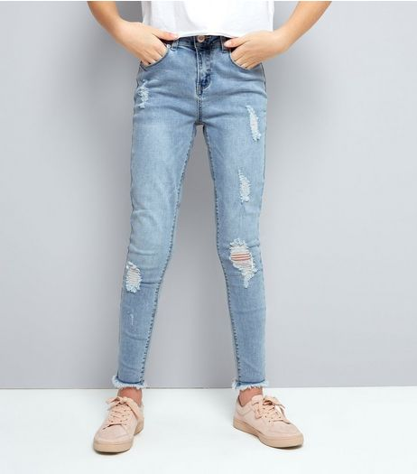 Teens Pale Blue Ripped Fray Hem Skinny Jeans | New Look