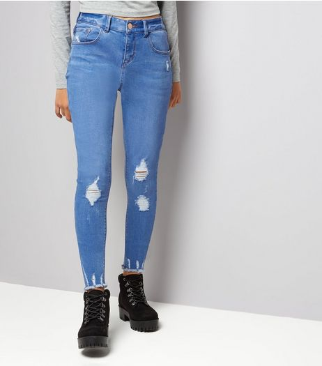 Teens Bright Blue Ripped Fray Hem Skinny Jeans | New Look
