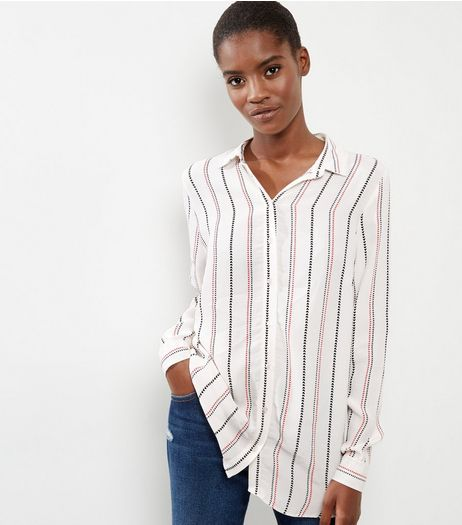 White Stripe Long Sleeve Longline Shirt  | New Look